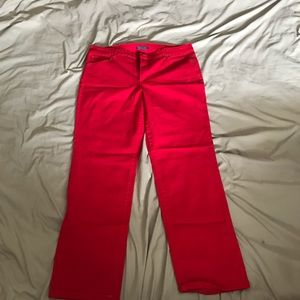 Bright red jeans